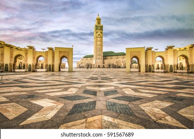 Square in front of the famous Hassan II Mosque in Casablanca - Morocco