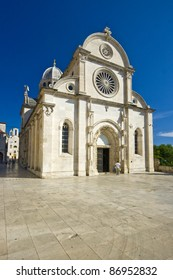 Square in front of the St.James cathedral in Sibenik, listed in the UNESCO world heritage, built in medival entirely of stone and marble