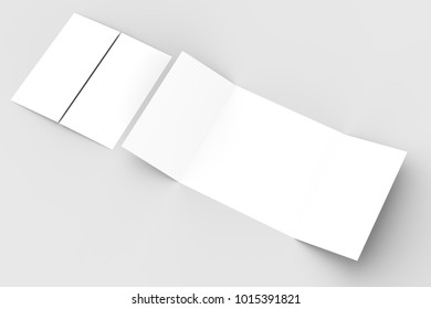 Square gate fold brochure mock up isolated on soft gray background. 3D illustrating
