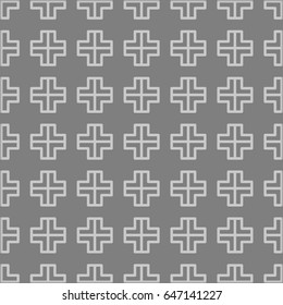 Square geometry pattern Seamless textile Fluorescent  Grey cross with white lines Grey black and white