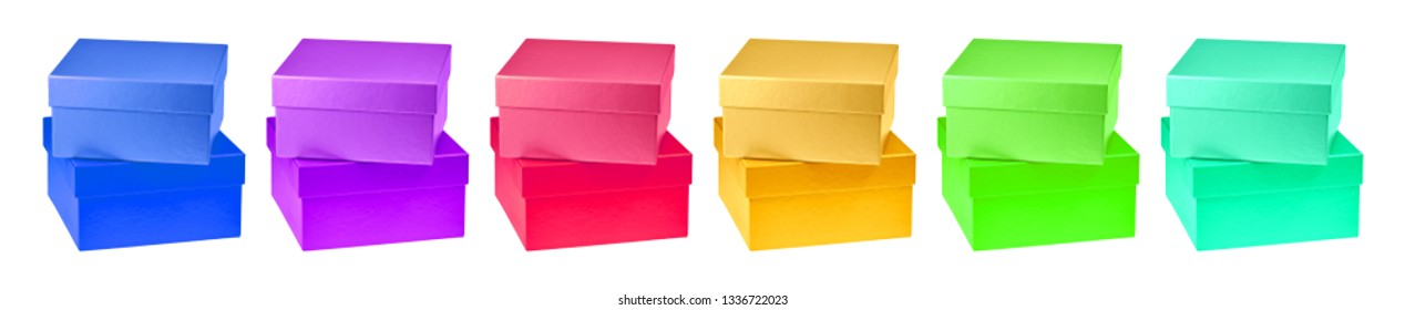 Square gift boxes made of colorful cardboard.