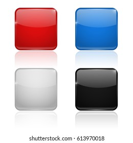 Square glass buttons. Colored set icons. 3d illustration isolated on white background. Raster version