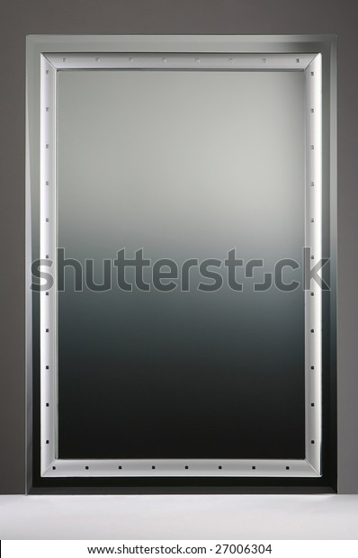 Square gray reflecting mirror indoor isolated in studio