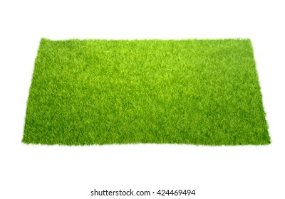 Square of green grass Isolated on white