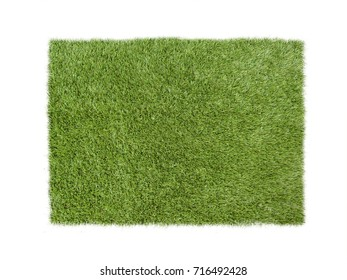 Square green grass isolated on white
