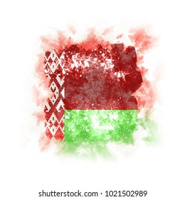Square grunge flag of belarus. 3D illustration