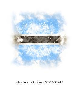 Square grunge flag of botswana. 3D illustration