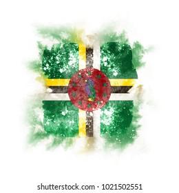 Square grunge flag of dominica. 3D illustration