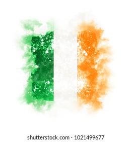 Square grunge flag of ireland. 3D illustration
