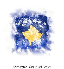 Square grunge flag of kosovo. 3D illustration