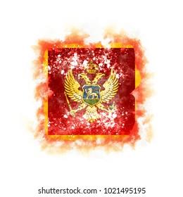 Square grunge flag of montenegro. 3D illustration