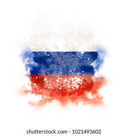 Square grunge flag of russia. 3D illustration
