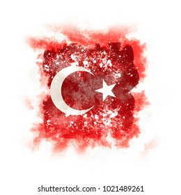 Square grunge flag of turkey. 3D illustration