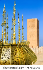 Square with Hassan tower at Mausoleum of Mohammed V in Rabat, Morocco on sunny day