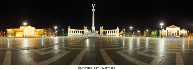 Square of Heroes - Panoramic view at night, Budapest