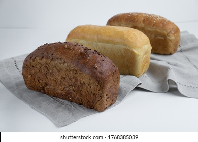square homemade bread on a white background