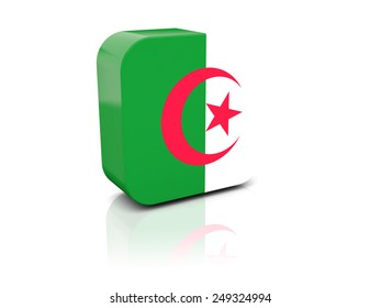 Square icon with flag of algeria with reflection