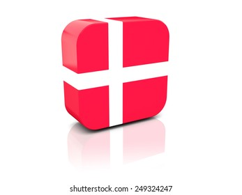 Square icon with flag of denmark with reflection