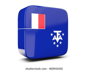 Square icon with flag of french southern territories square isolated on white. 3D illustration