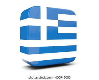 Square icon with flag of greece square isolated on white. 3D illustration