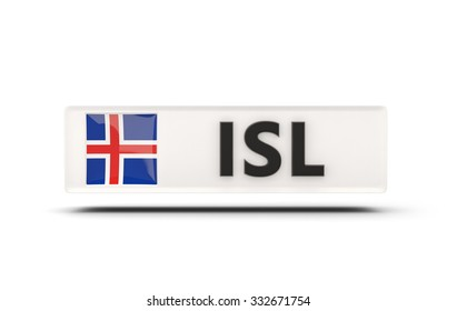 Square icon with flag of iceland and ISO code