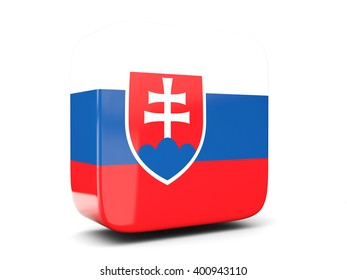 Square icon with flag of slovakia square isolated on white. 3D illustration