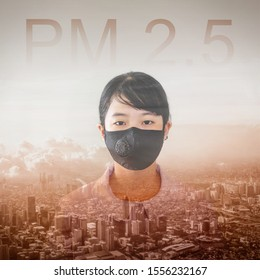 Square image of Asian girl wear N95 mask to protect PM 2.5 dust and air pollution. Portrait of Thai student wearing protection mask over smog city buildings with bad weather, pm2.5 concept background.