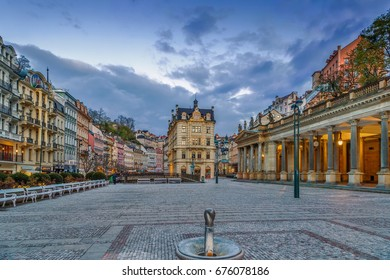 Square in Karlovy Vary city center, Czech republic