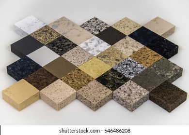 Square kitchen counter top samples, made from granite and marble slabs