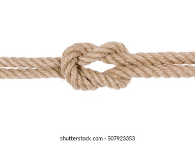 Square knot isolated on white background. Nautical rope knot.