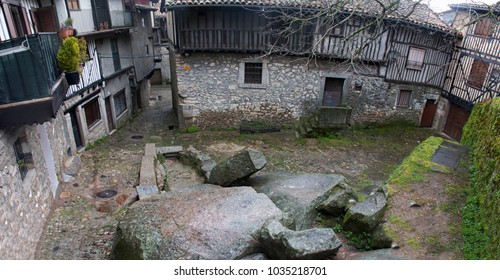 a square in la alberca, a famous town in salamanca, spain