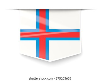 Square label with flag of faroe islands isolated on white