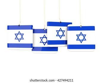 Square labels with flag of israel. 3D illustration