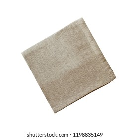 Square linen napkin isolated over a white background with clipping path included. Image shot from overhead.