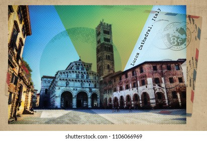 square of Lucca Cathedral, retro postcard