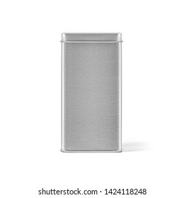 Square metal tin can box with lid isolated on white background. Packaging template mockup collection. Stand-up Front side view package.