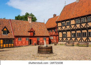Square in the middle of Old Town of Aarhus city, Denmark