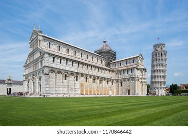 Square of Miracles in Pisa is dominated by four great religious edifices: the Pisa Cathedral and the Campanile.