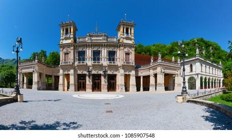 Square of the Municipal Casino of San Pellegrino Terme Bergamo Italy.