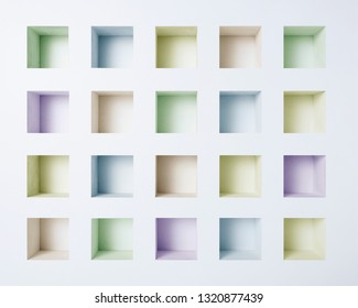 square niche in white wall.
