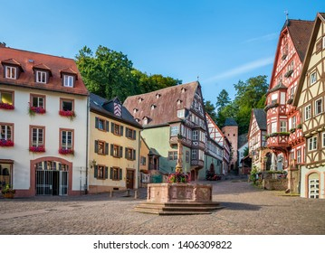 Square and old houses in  Bavarian town, Germany.