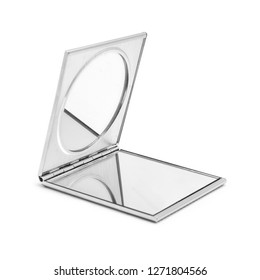 square open pocket makeup cosmetic mirror isolated