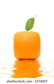 Square orange isolated on the white background