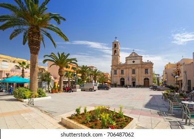 Square at Orthodox Cathedral in the old town of Chania on Crete, Greece