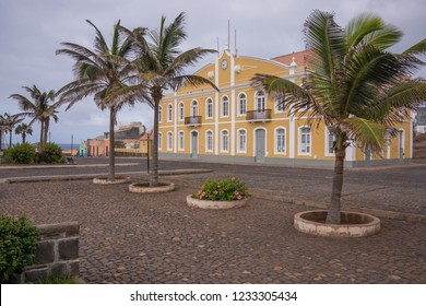 Square with palm trees and building of the municipal Chamber in Ponta do Sol, island of Santo Antao, Cape Verde