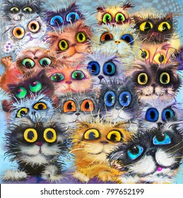 Square pattern of cats' portraits