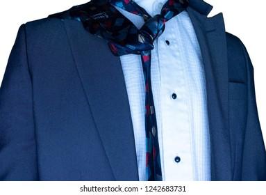 square pattern colorful tie blue business suit