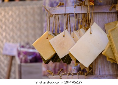 Square pieces of traditional artisanal soap. Provence, France.