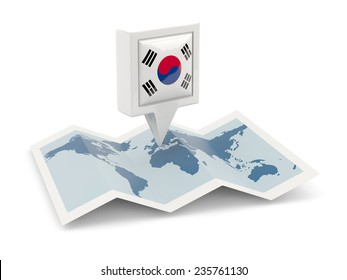 Square pin with flag of south korea on the map