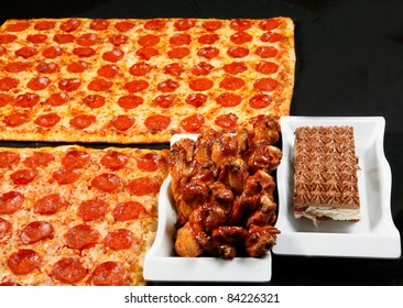 square pizza with wings